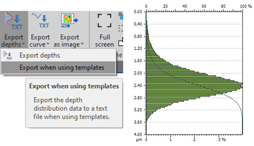 Export depth distribution data and curves