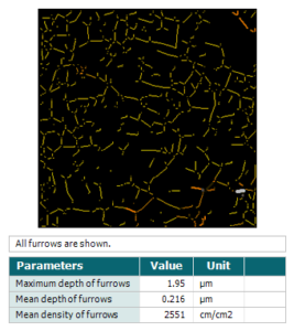 Furrows analysis with Mountains software