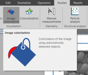 Image of Mountains software menu with the colorization study selected